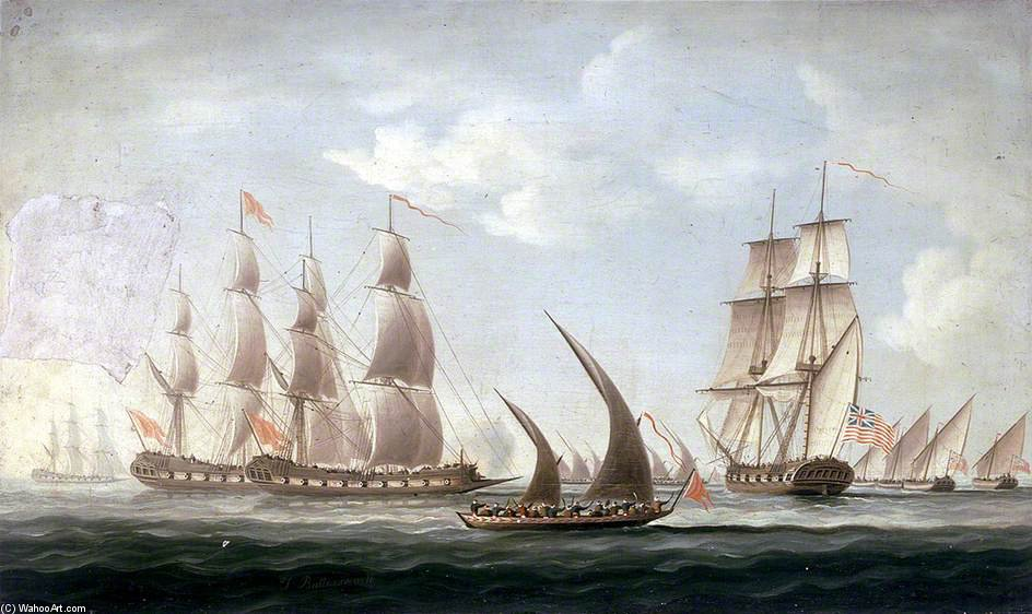 Attaque Sur de la aurora HMS par des pirates - de Thomas Buttersworth (1768-1842, United Kingdom)