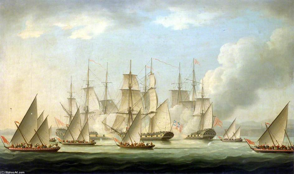 Attaque Sur de la aurora HMS par des pirates de Thomas Buttersworth (1768-1842, United Kingdom)