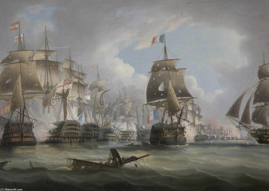 Bataille de Trafalgar de Thomas Buttersworth (1768-1842, United Kingdom)