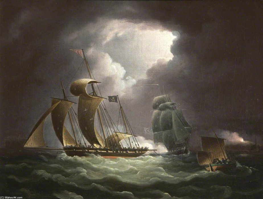 Chase Of The Pirate Lugger vont regarder de Thomas Buttersworth (1768-1842, United Kingdom)