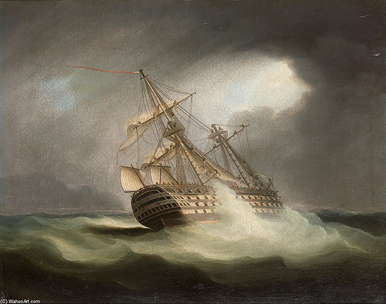 HMS «victoire» Dans Full Sail Et dans un grain de Thomas Buttersworth (1768-1842, United Kingdom)