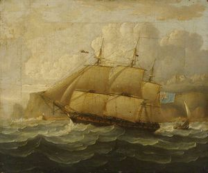 Thomas Buttersworth - Hms de la Leander At Sea