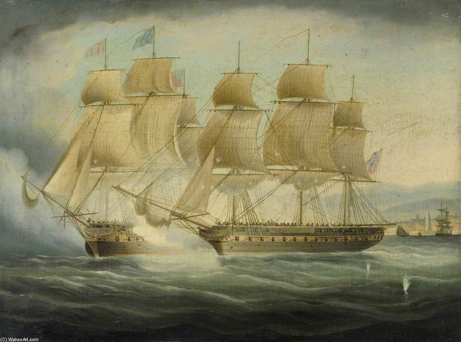 HMS Shannon «Prendre de la Chesapeake Uss de Thomas Buttersworth (1768-1842, United Kingdom)