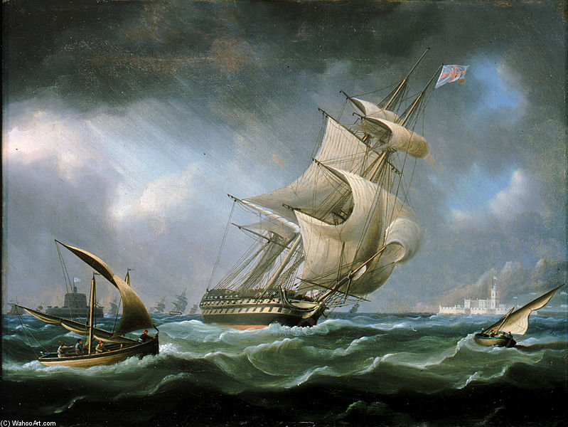 HMS Warrior large de l embouchure du Tage de Thomas Buttersworth (1768-1842, United Kingdom)