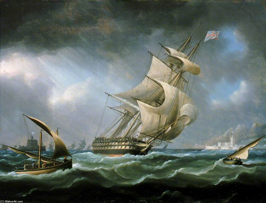 HMS Guerrier à l embouchure du Tage de Thomas Buttersworth (1768-1842, United Kingdom)