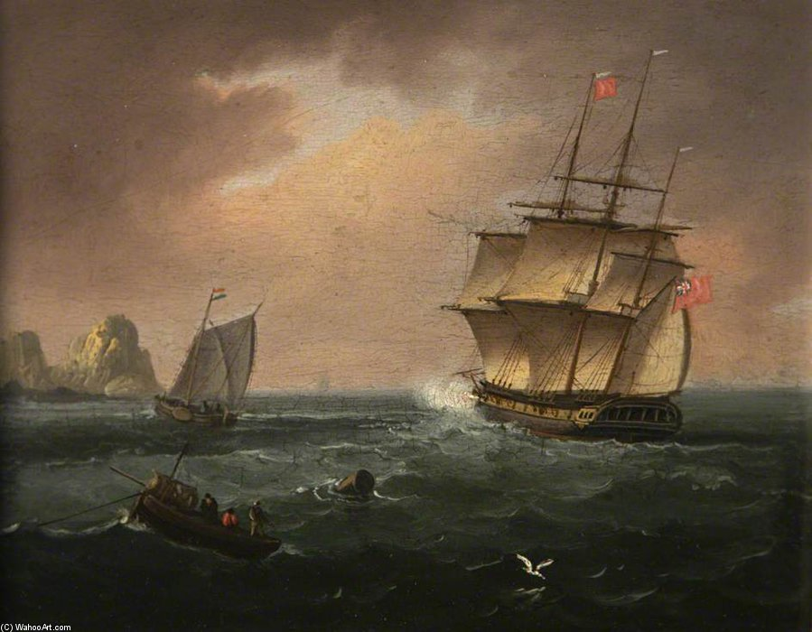 Man O War de soixante-quatre canons de Thomas Buttersworth (1768-1842, United Kingdom)