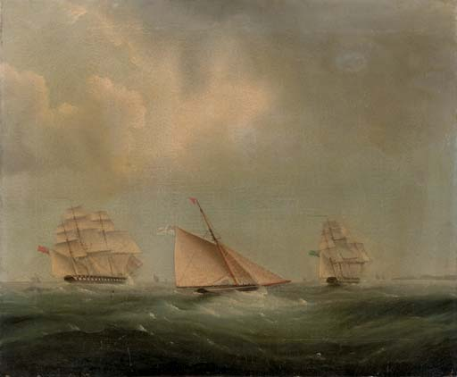 Navigation dans la Manche de Thomas Buttersworth (1768-1842, United Kingdom)