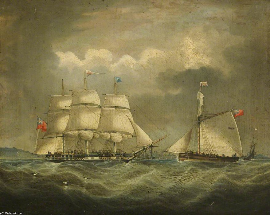 la barque 'iris' en mer de Thomas Buttersworth (1768-1842, United Kingdom)