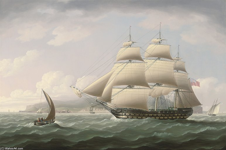 l`honorable est de l`inde Company`s navire dunira passing funchal bay Sur l ile de madeira de Thomas Buttersworth (1768-1842, United Kingdom) | Reproductions D'art Sur Toile | ArtsDot.com