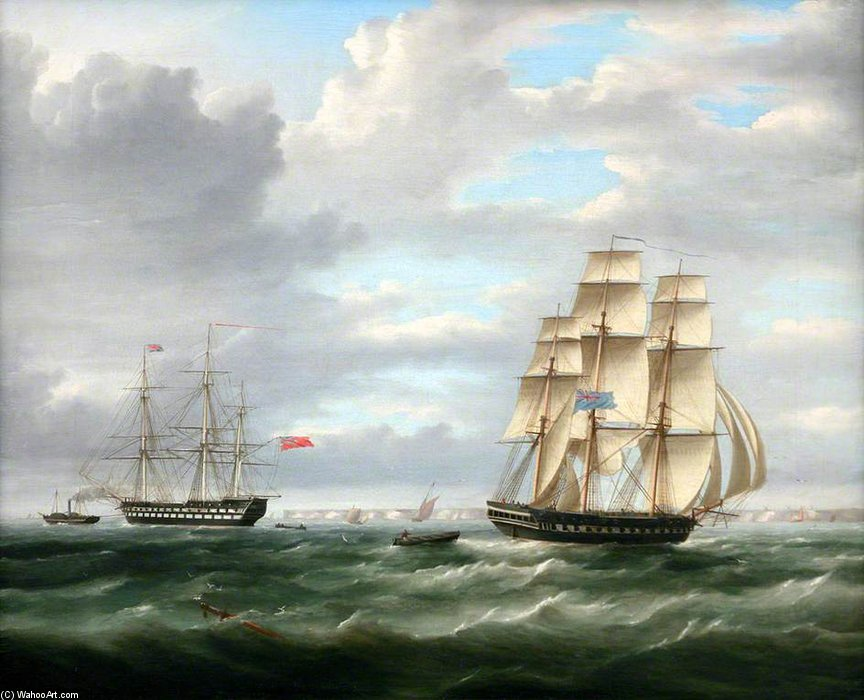 Deux navires de guerre de Thomas Buttersworth (1768-1842, United Kingdom)