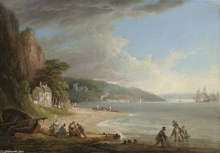 Frais de port couché sur le Tamar Avant Pentillie Castle de William Payne (1760-1830, United Kingdom)