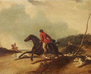 Abraham Cooper - Un chasseur Encourager Hounds