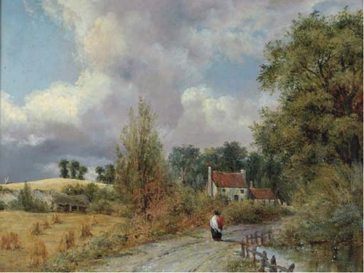 A Country Lane de Frederick Waters Watts (1800-1870, United Kingdom)