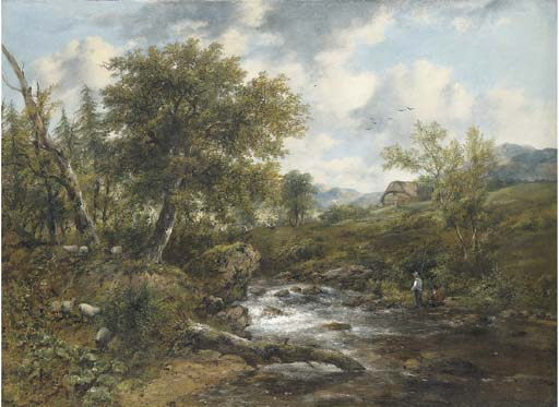Un paysage boisé de la rivière avec les pêcheurs et moutons sur les banques, une maison-delà de Frederick Waters (William) Watts (1800-1870, United Kingdom)