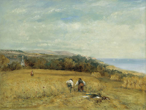 Batteuses Dans un champ de maïs sur l île de Wight de Frederick Waters Watts (1800-1870, United Kingdom)