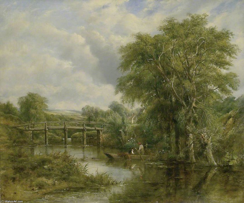 paysage rivière de Frederick Waters Watts (1800-1870, United Kingdom)