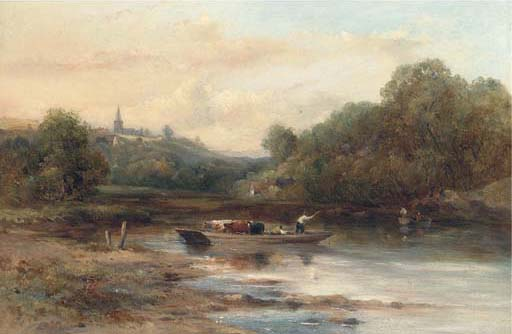 Le bétail Crossing, près de Norwich de Frederick Waters Watts (1800-1870, United Kingdom)