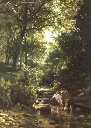 les enfants en la  ruisseau  de Samuel Bough (1822-1878, United Kingdom) | ArtsDot.com