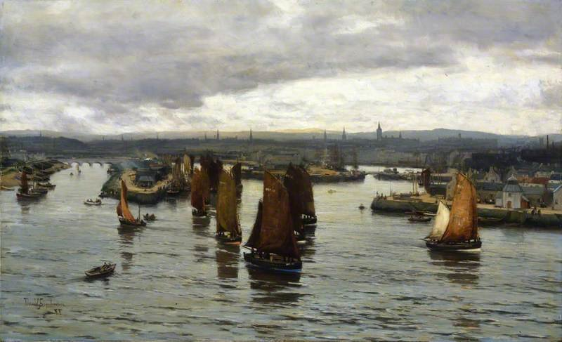 Le hareng Fleet Leaving The Dee, Aberdeen de David Farquharson (1839-1907, United Kingdom)