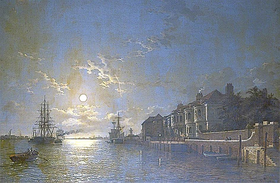 Off Tilbury, Essex, port sur la Tamise au clair de lune de Henry Pether (1828-1865, United Kingdom)