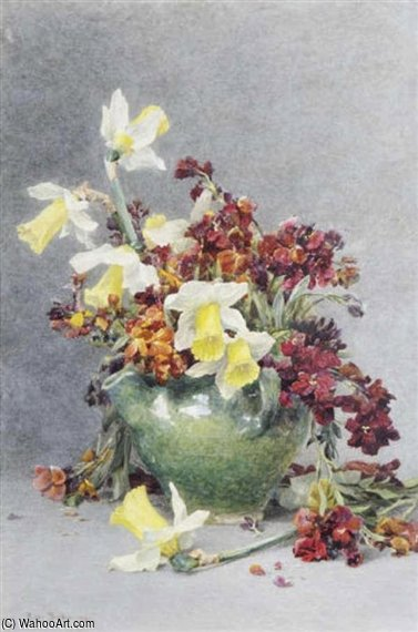 Still Life With jonquilles et Wallflowers de Rose Maynard Barton (1856-1930, Ireland)