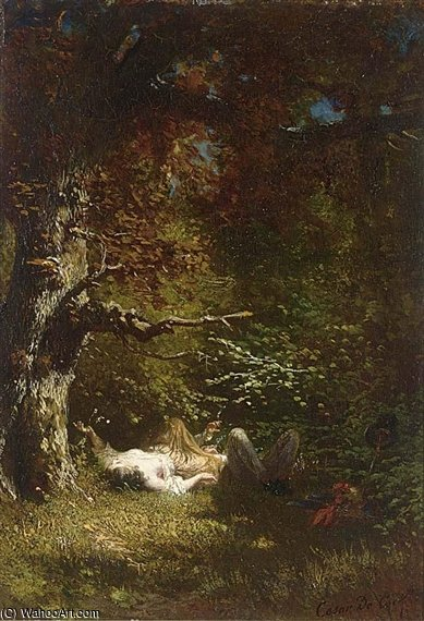 Lovers In The Forest de Cesar De Cock (1823-1904, Belgium)