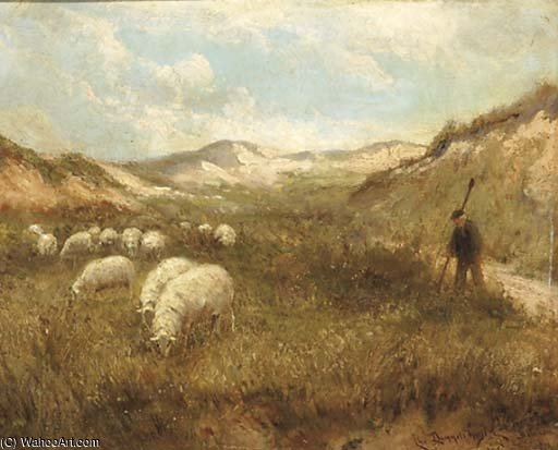 Guider The Flock à travers les dunes de Cornelis Christiaan Dommelshuizen (1842-1928, Netherlands)