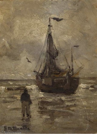 Un Bomschuit On The Beach sur une journée grise de Gerhard Arij Ludwig Morgenstje Munthe (1875-1927, Belgium)