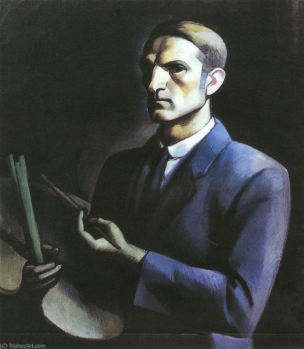 Self-portrat Avec Palette de Janos Kmetty (1889-1975, Hungary) | Reproduction Peinture | ArtsDot.com