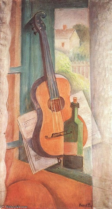 Nature morte avec Guitar de Janos Kmetty (1889-1975, Hungary)