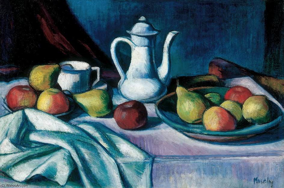 nature morte avec  pot  et  fruits  de Janos Kmetty (1889-1975, Hungary)