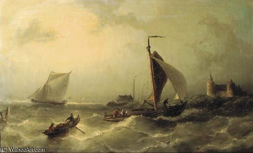 Heading For Shore environs de The Muiderslot de Nicolaas Riegen (1827-1889, Netherlands)