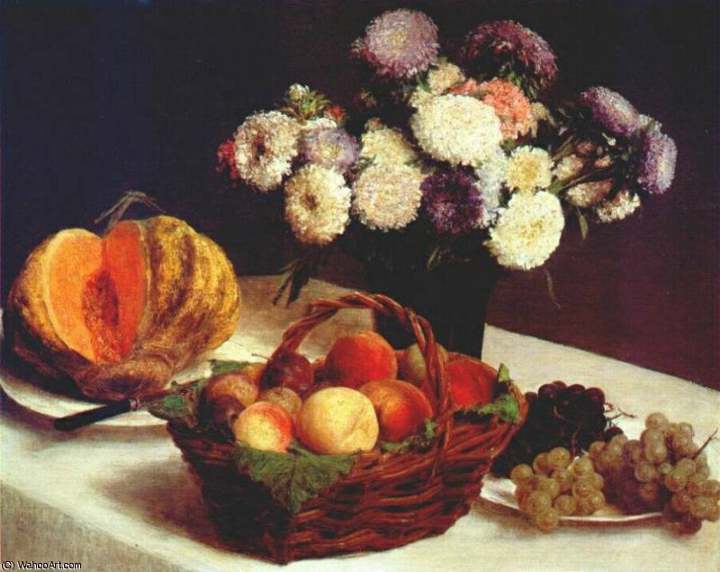 chine d'asters  et  fruits , 1865 de Henri Fantin Latour (1836-1904, France)