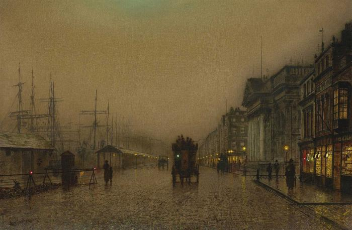 Salthouse Dock, Liverpool de John Atkinson Grimshaw (1836-1893, United Kingdom)