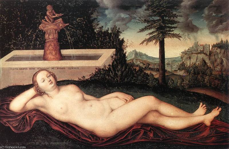 reclining rivière Nymphe  au  la  Fontaine  de Lucas Cranach The Elder (1472-1553, Germany)