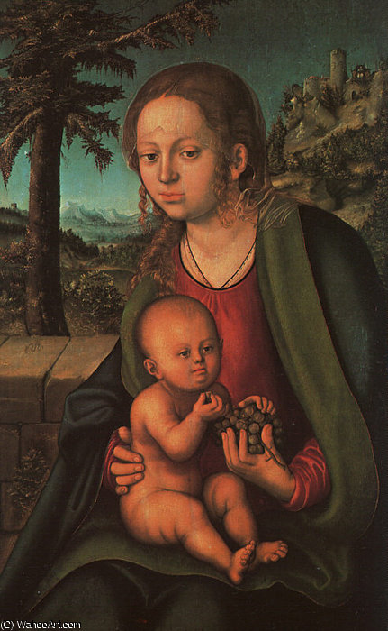 Madonna avec le Grappe de raisin de Lucas Cranach The Elder (1472-1553, Germany)
