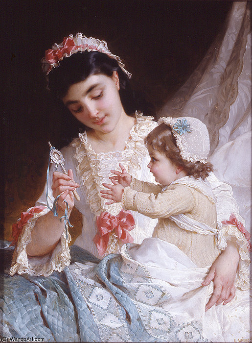 Nd 10 distraire le bébé de Emile Munier (1840-1895, France)