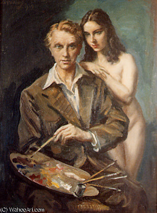 Artista y modelo de Jorge Apperley (George Owen Wynne Apperley) (1884-1960, United Kingdom)