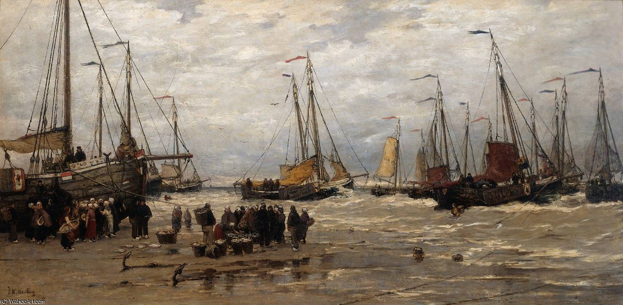 Pinks dans les Breakers de Hendrik Willem Mesdag (1831-1915, Netherlands)