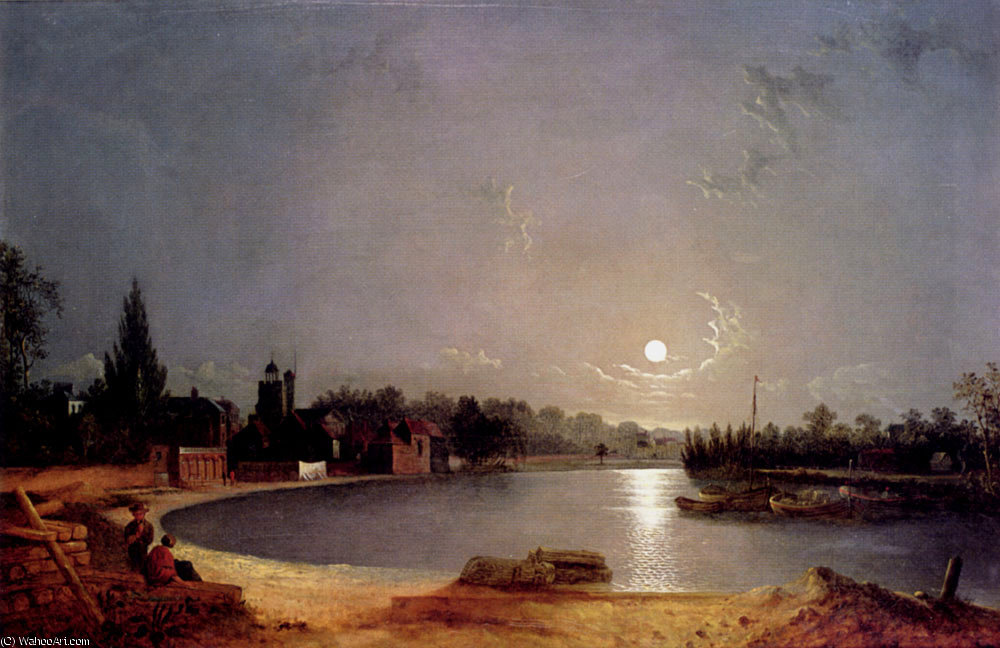 La Tamise à Twickenham lune de Henry Pether (1828-1865, United Kingdom) | Reproduction Peinture | ArtsDot.com
