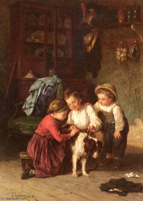 L animal malade de Theophile Emmanuel Duverger (1821-1901, France)