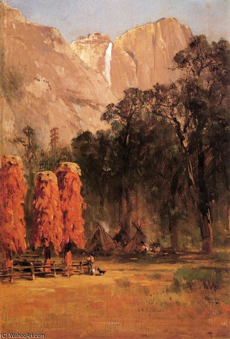 Camp de Yosemite indienne de Thomas Hill (1829-1908, United Kingdom)