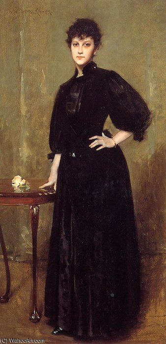 Lady in Black alias Mme Leslie coton de William Merritt Chase (1849-1916, United States)