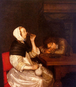 Gerard Ter Borch The Youn.. - femme potable avec  dormi..