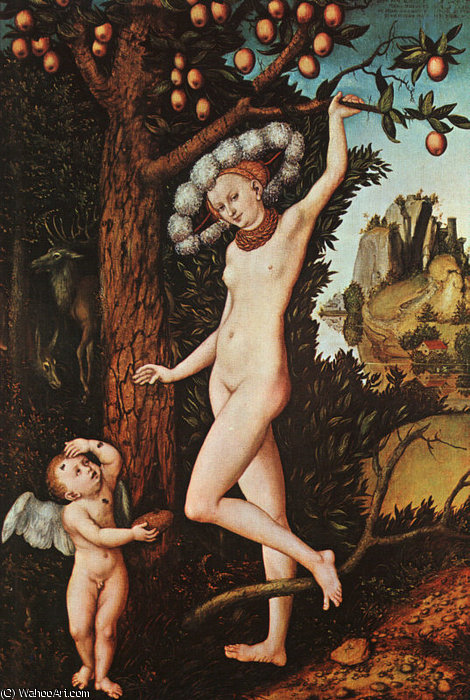 Cupidon auprès de Vénus, Le National Galler de Lucas Cranach The Elder (1472-1553, Germany)