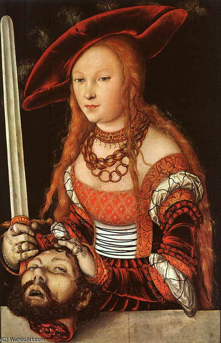 judith avec l' chef des holofernes , env . - ( 153 ) de Lucas Cranach The Elder (1472-1553, Germany)