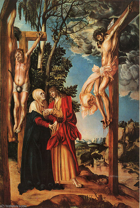 le crucifixion, pin panneau, `pinakothek` a, 1503 de Lucas Cranach The Elder (1472-1553, Germany)