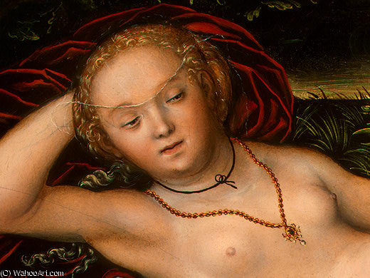 la nymphe de l Printemps , après detalj - ( 2 , ), 1537 de Lucas Cranach The Elder (1472-1553, Germany) | Reproductions D'art Sur Toile | ArtsDot.com