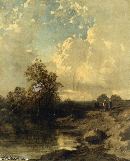 Figures par un Riverbank de Eugène Cicéri (1813-1890, France) | Reproduction Peinture | ArtsDot.com