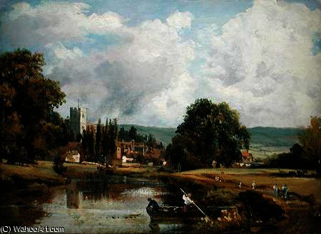 Aylesford , Dans le kent , de l river medway de Frederick Waters (William) Watts (1800-1870, United Kingdom)